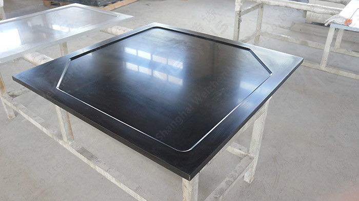 Black  Epoxy Resin Corner Worktop with Glare Surface and Marine Edge